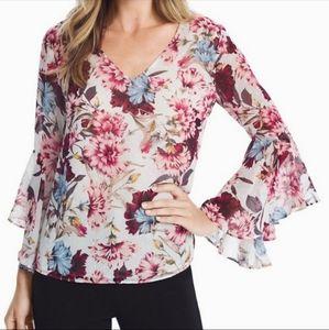 WHBM Floral Drape Back Long Sleeve Blouse Size 4